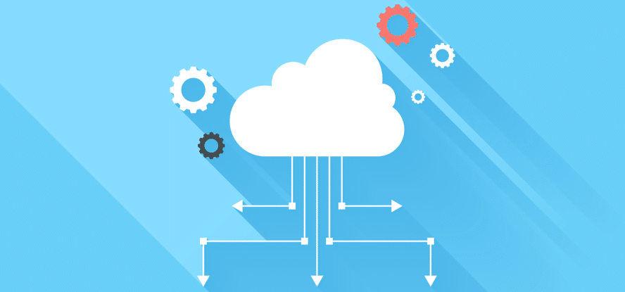 cloud with gears and arrows extending out