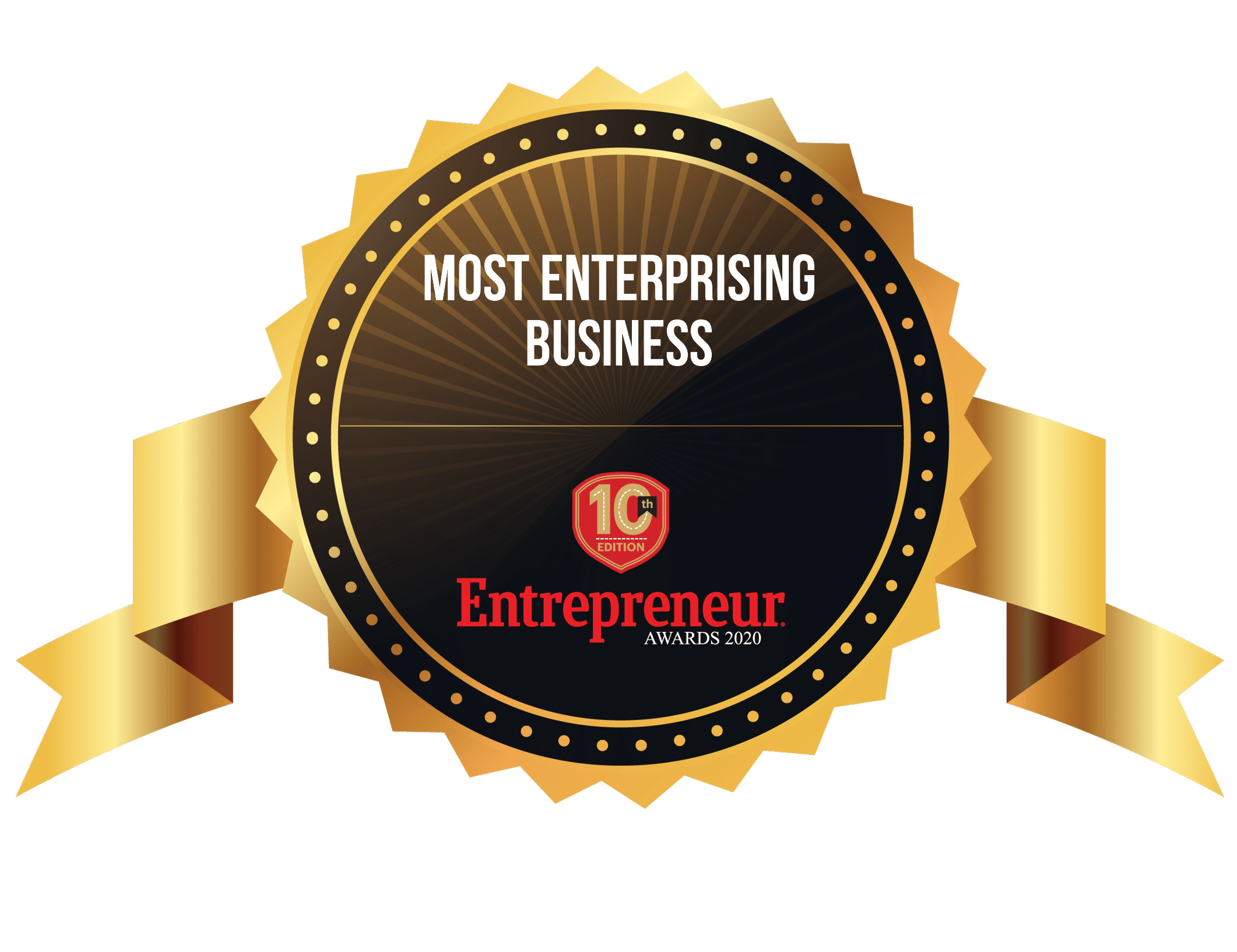 Award banner for 'Most Enterprising Business' from the 2020 Entrepreneur Awards 2020