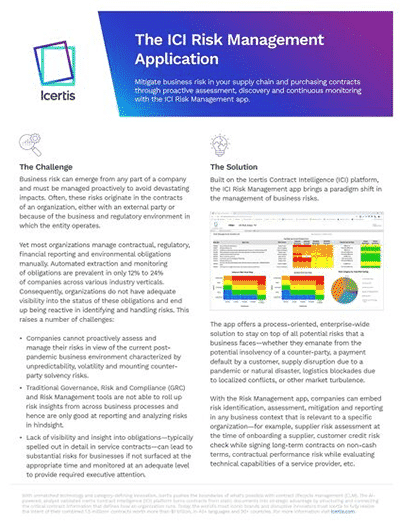 first page of case study - the ICI Risk Management Application